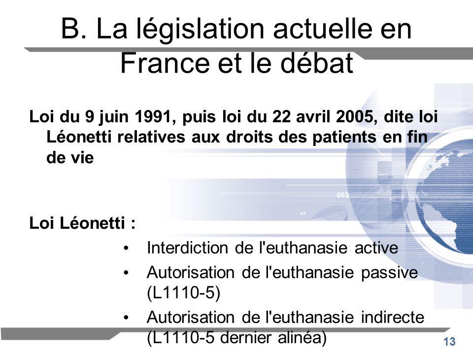 13 B. La législation actuelle en France et le débat Loi du 9 juin 1991, puis loi du 22 avril 2005, dite loi Léonetti relatives aux droits des patients