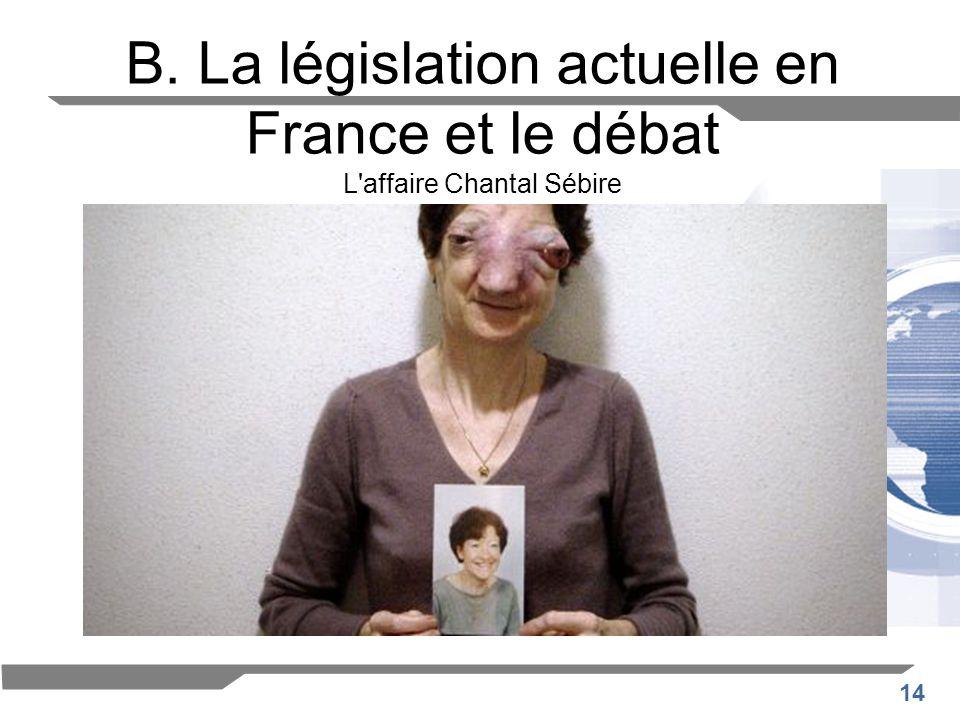 14 B. La législation actuelle en France et le débat L'affaire Chantal Sébire