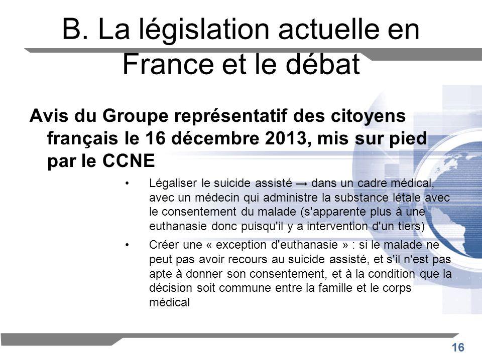 16 B. La législation actuelle en France et le débat Avis du Groupe représentatif des citoyens français le 16 décembre 2013, mis sur pied par le CCNE L