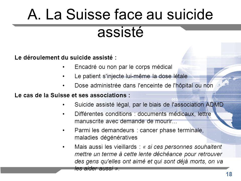 18 A. La Suisse face au suicide assisté Le déroulement du suicide assisté : Encadré ou non par le corps médical Le patient s'injecte lui-même la dose