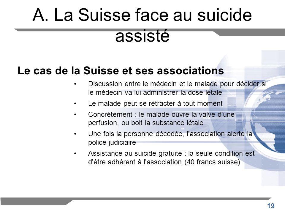 19 A. La Suisse face au suicide assisté Le cas de la Suisse et ses associations Discussion entre le médecin et le malade pour décider si le médecin va