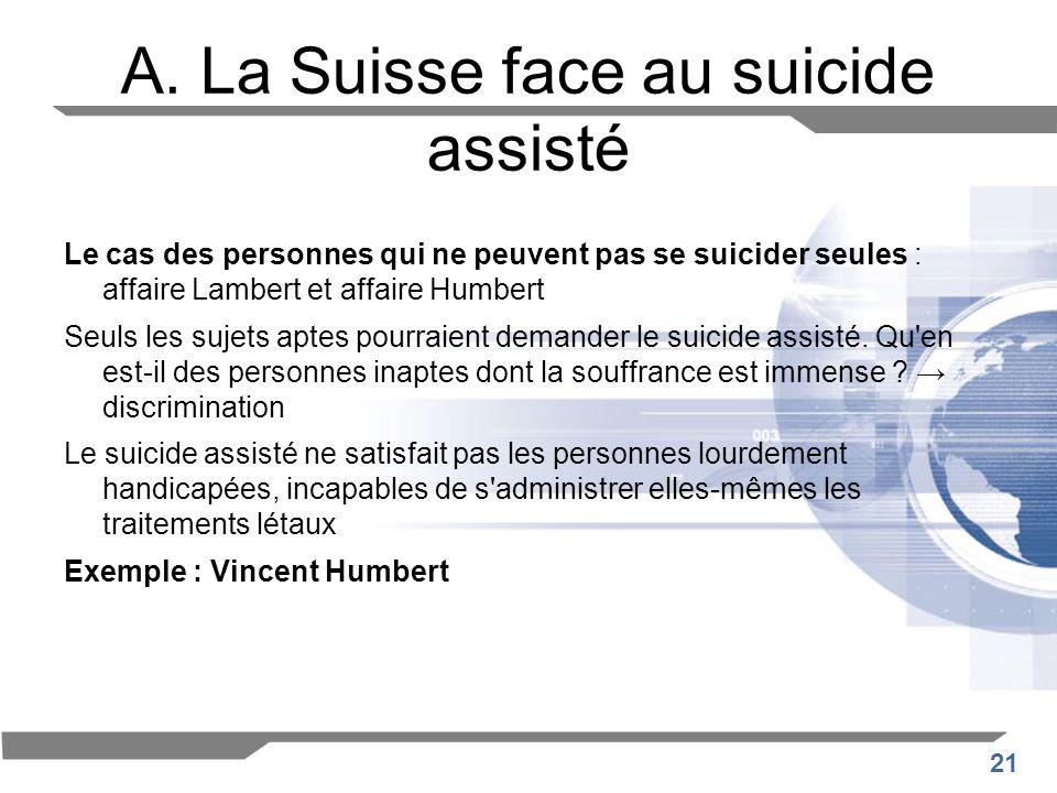 21 A. La Suisse face au suicide assisté Le cas des personnes qui ne peuvent pas se suicider seules : affaire Lambert et affaire Humbert Seuls les suje