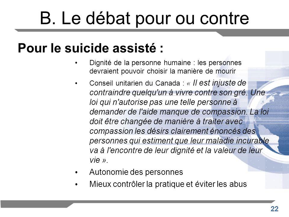 22 B. Le débat pour ou contre Pour le suicide assisté : Dignité de la personne humaine : les personnes devraient pouvoir choisir la manière de mourir