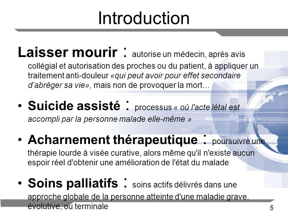 5 Introduction Laisser mourir : autorise un médecin, après avis collégial et autorisation des proches ou du patient, à appliquer un traitement anti-do
