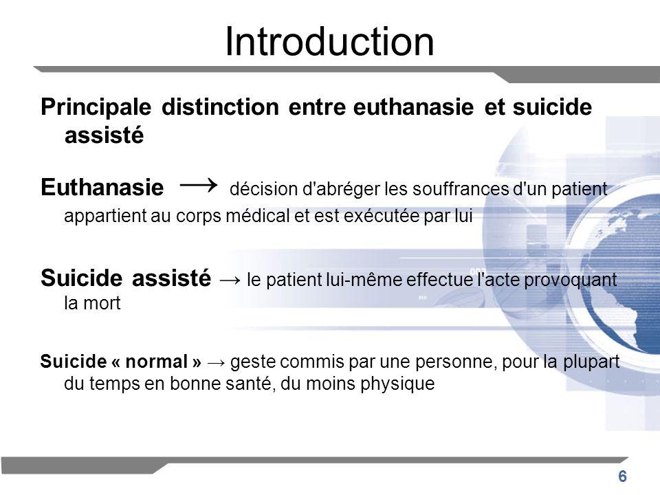 6 Introduction Principale distinction entre euthanasie et suicide assisté Euthanasie décision d'abréger les souffrances d'un patient appartient au cor