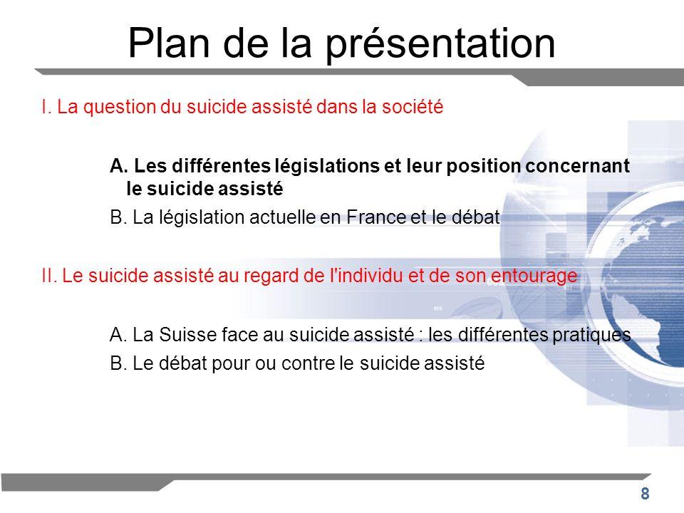 8 Plan de la présentation I. La question du suicide assisté dans la société A. Les différentes législations et leur position concernant le suicide ass