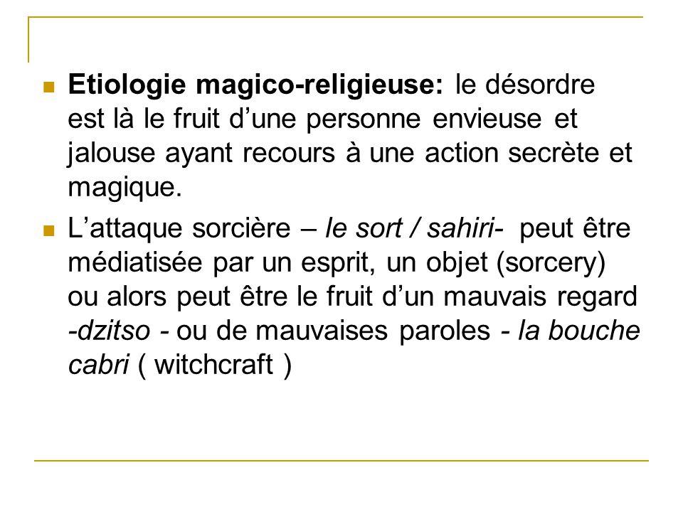 Etiologie magico-religieuse: le désordre est là le fruit dune personne envieuse et jalouse ayant recours à une action secrète et magique. Lattaque sor