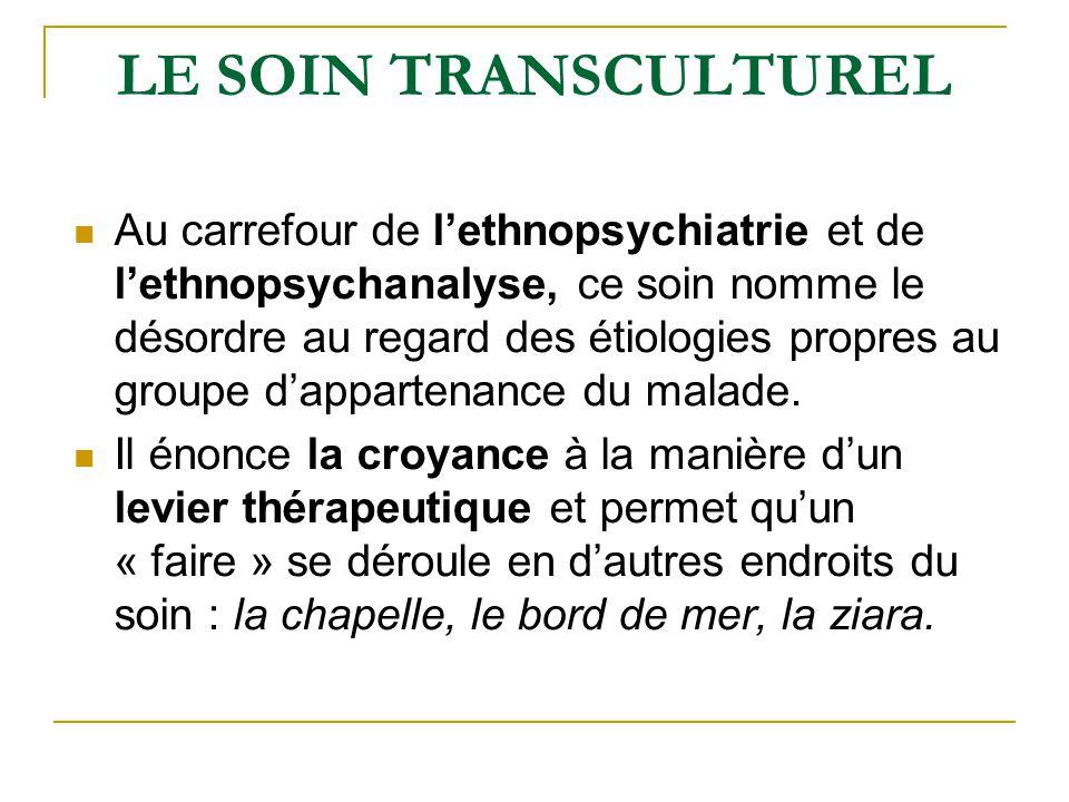LE SOIN TRANSCULTUREL Au carrefour de lethnopsychiatrie et de lethnopsychanalyse, ce soin nomme le désordre au regard des étiologies propres au groupe