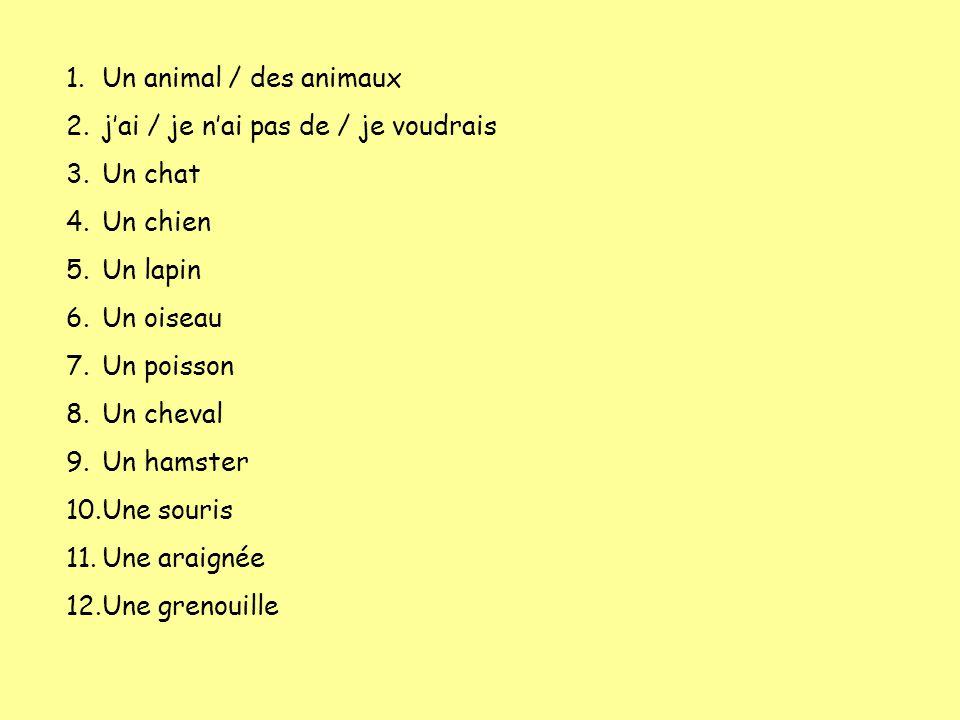 1.Un animal / des animaux 2.jai / je nai pas de / je voudrais 3.Un chat 4.Un chien 5.Un lapin 6.Un oiseau 7.Un poisson 8.Un cheval 9.Un hamster 10.Une souris 11.Une araignée 12.Une grenouille