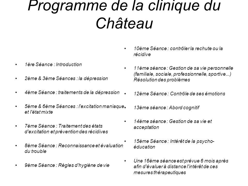 Programme de la clinique du Château 1ère Séance : Introduction 2ème & 3ème Séances : la dépression 4ème Séance : traitements de la dépression 5ème & 6