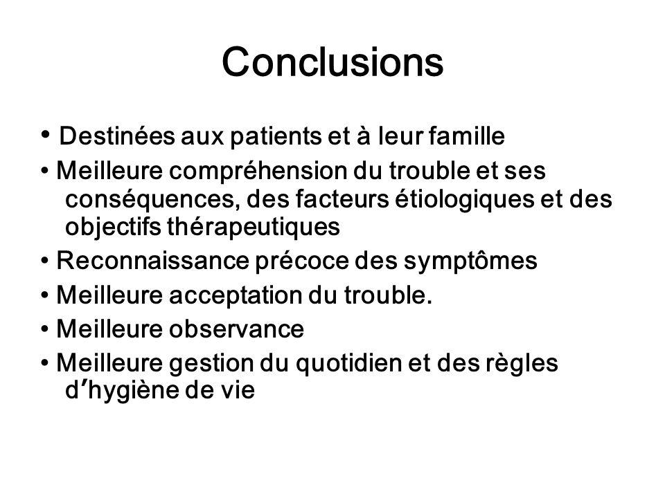 Destinées aux patients et à leur famille Meilleure compréhension du trouble et ses conséquences, des facteurs étiologiques et des objectifs thérapeuti