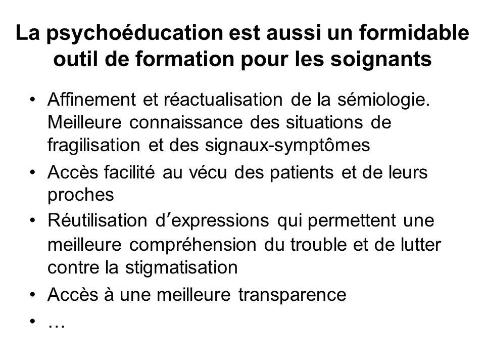 La psychoéducation est aussi un formidable outil de formation pour les soignants Affinement et réactualisation de la sémiologie. Meilleure connaissanc