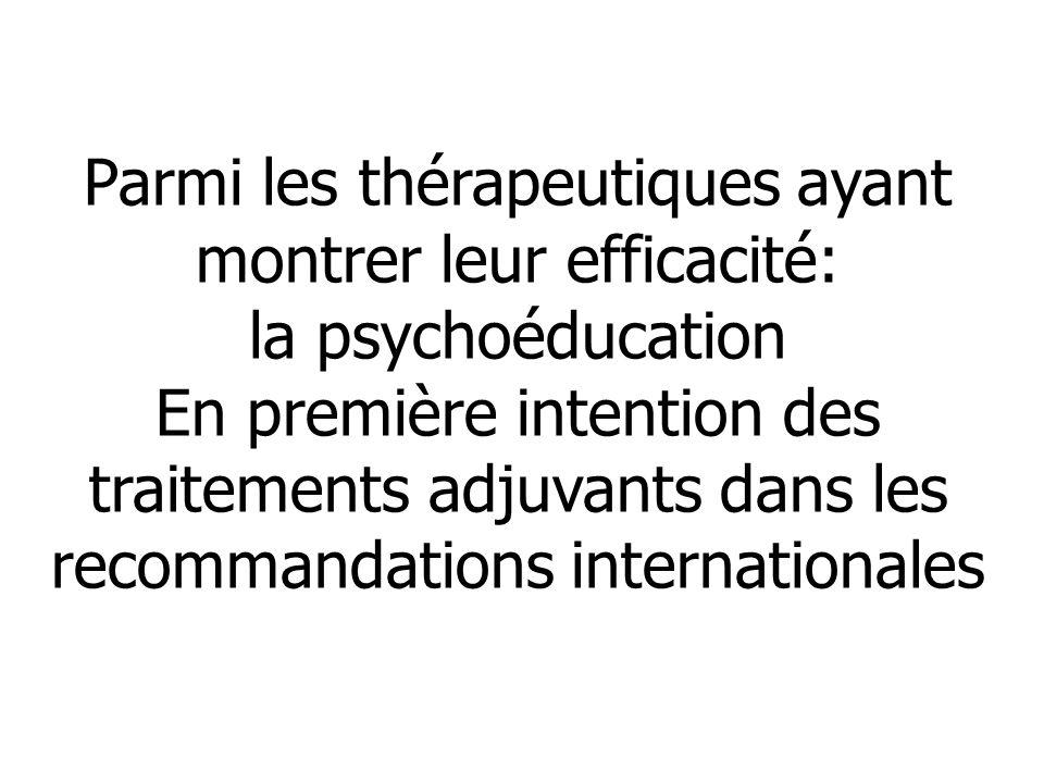 Parmi les thérapeutiques ayant montrer leur efficacité: la psychoéducation En première intention des traitements adjuvants dans les recommandations in