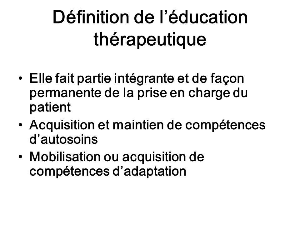 Définition de léducation thérapeutique Elle fait partie intégrante et de façon permanente de la prise en charge du patient Acquisition et maintien de