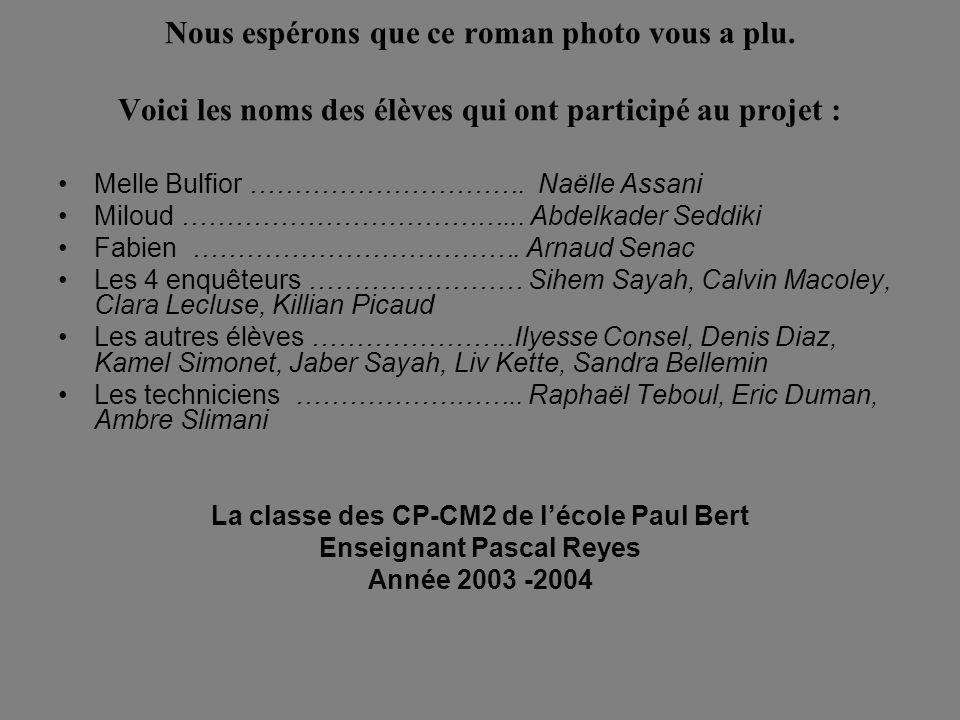 Nous espérons que ce roman photo vous a plu. Voici les noms des élèves qui ont participé au projet : Melle Bulfior …………………………. Naëlle Assani Miloud ……