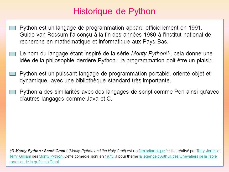 Historique de Python Python est un puissant langage de programmation portable, orienté objet et dynamique, avec une bibliothèque standard très importa