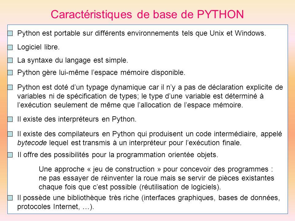 Caractéristiques de base de PYTHON Il offre des possibilités pour la programmation orientée objets. Une approche « jeu de construction » pour concevoi