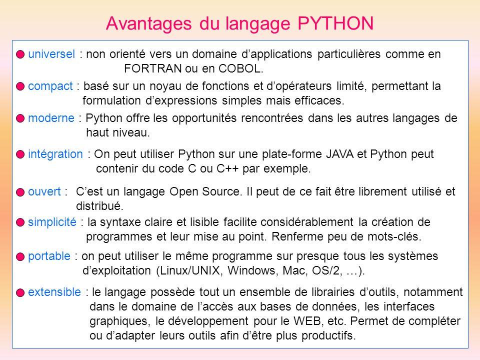 Avantages du langage PYTHON universel : non orienté vers un domaine dapplications particulières comme en FORTRAN ou en COBOL. compact : basé sur un no