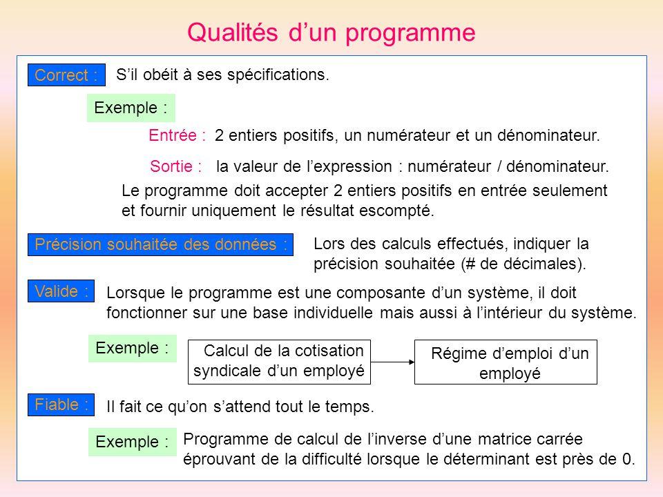 Qualités dun programme Correct : Sil obéit à ses spécifications. Entrée :2 entiers positifs, un numérateur et un dénominateur. Sortie :la valeur de le