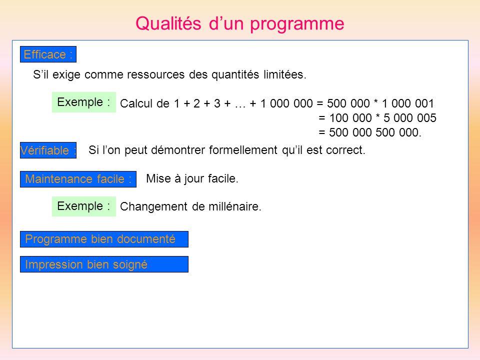Qualités dun programme Efficace : Sil exige comme ressources des quantités limitées. Exemple : Calcul de 1 + 2 + 3 + … + 1 000 000 = 500 000 * 1 000 0