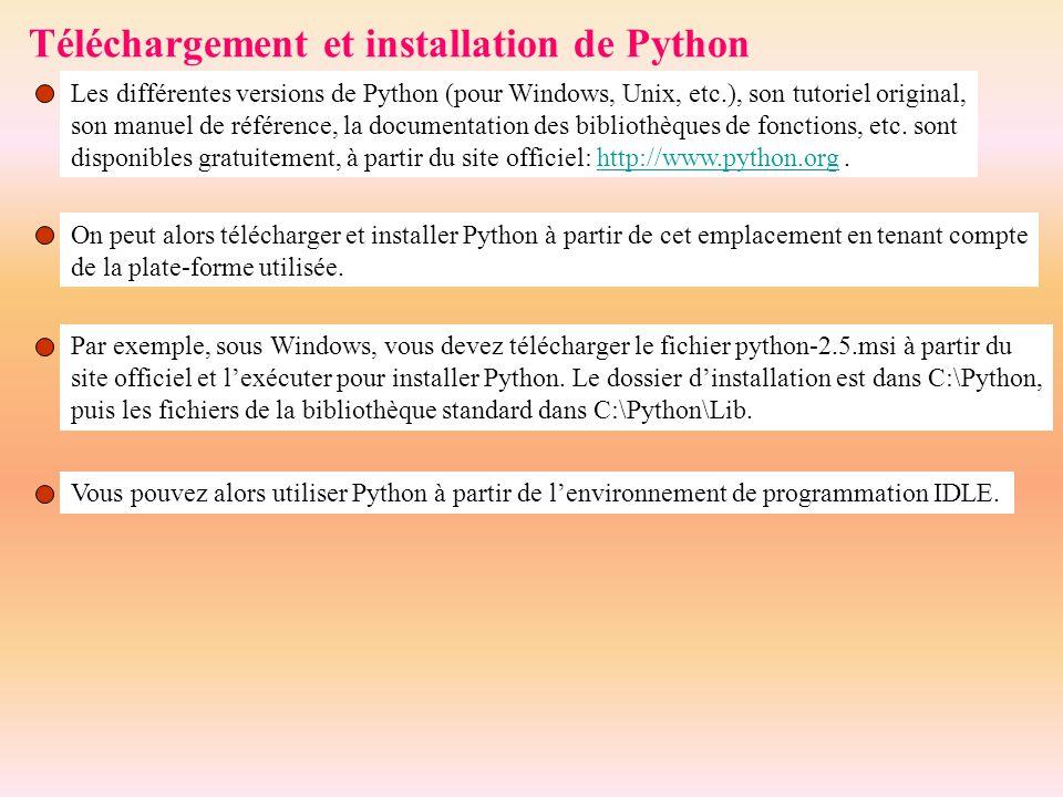 Téléchargement et installation de Python Les différentes versions de Python (pour Windows, Unix, etc.), son tutoriel original, son manuel de référence