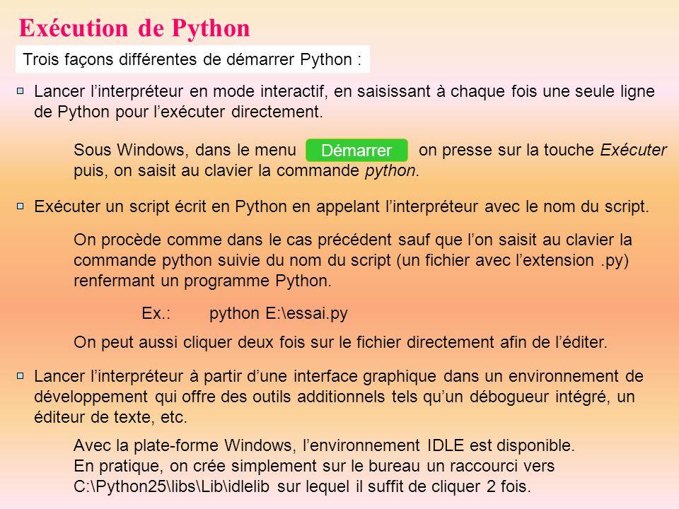 Exécution de Python Trois façons différentes de démarrer Python : Lancer linterpréteur en mode interactif, en saisissant à chaque fois une seule ligne