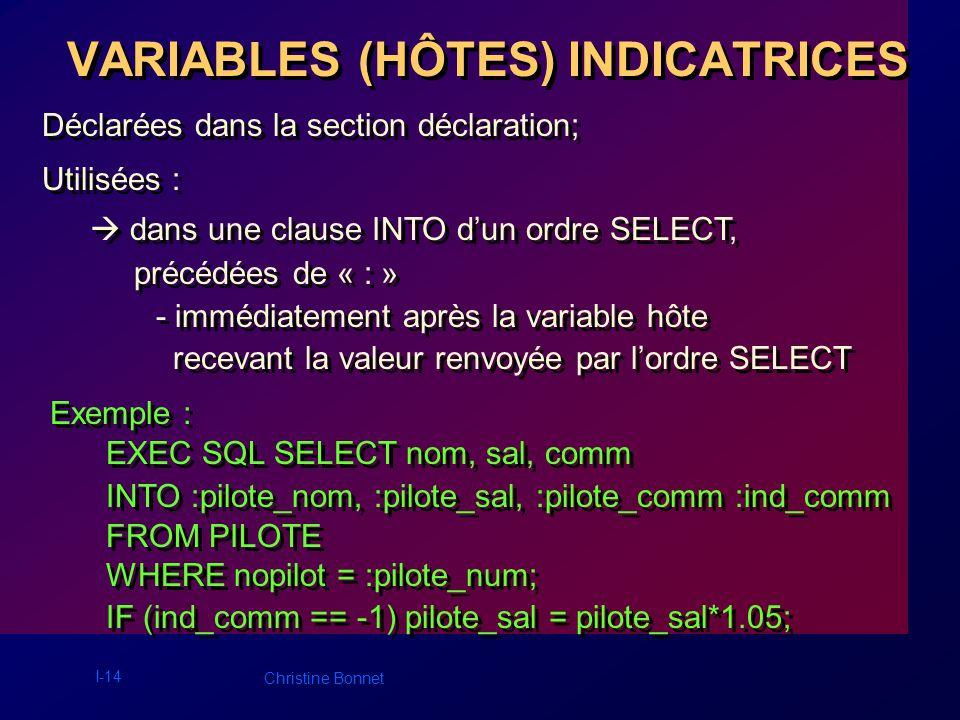 I-14 Christine Bonnet VARIABLES (HÔTES) INDICATRICES Déclarées dans la section déclaration; Utilisées : dans une clause INTO dun ordre SELECT, précédé