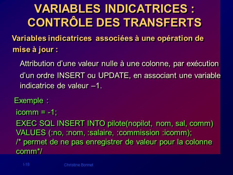 I-18 Christine Bonnet VARIABLES INDICATRICES : CONTRÔLE DES TRANSFERTS Variables indicatrices associées à une opération de mise à jour : Variables ind