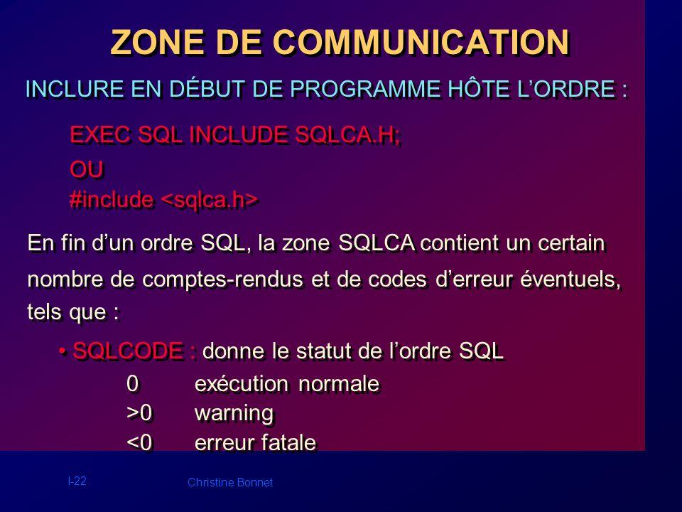 I-22 Christine Bonnet ZONE DE COMMUNICATION INCLURE EN DÉBUT DE PROGRAMME HÔTE LORDRE : EXEC SQL INCLUDE SQLCA.H; OU #include EXEC SQL INCLUDE SQLCA.H