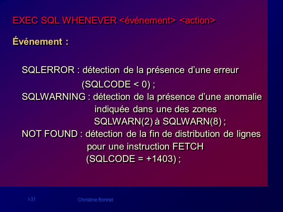 I-31 Christine Bonnet EXEC SQL WHENEVER Événement : SQLERROR : détection de la présence dune erreur (SQLCODE < 0) ; SQLWARNING : détection de la prése