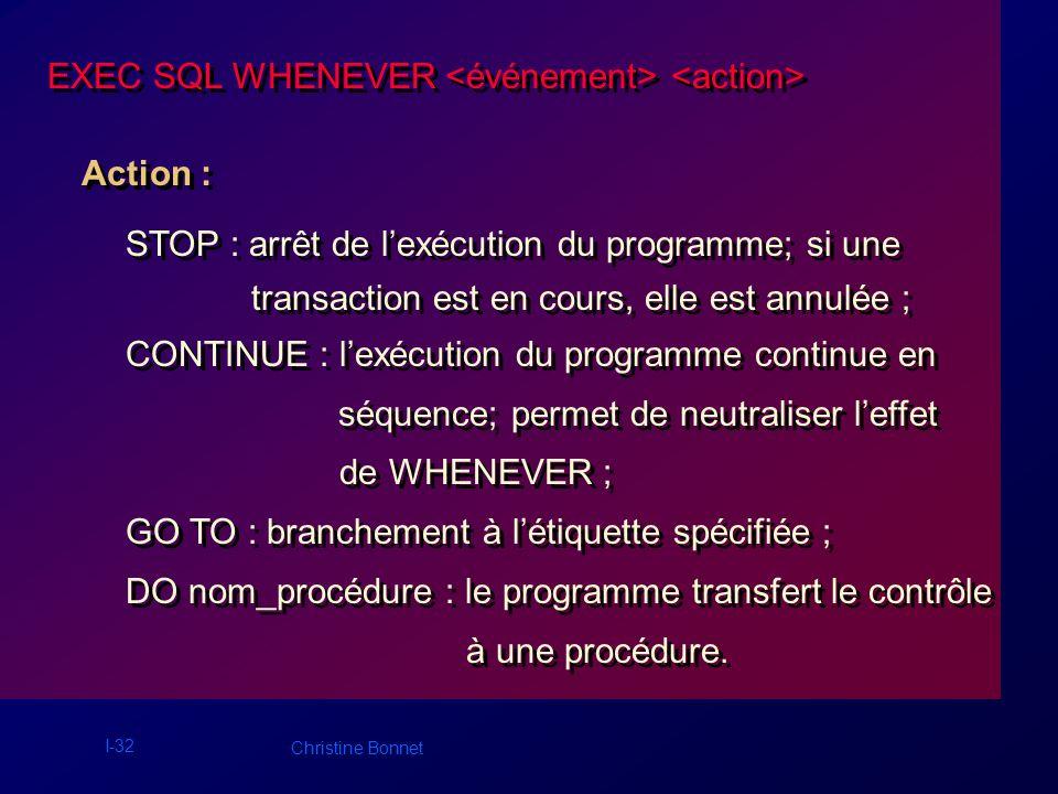 I-32 Christine Bonnet EXEC SQL WHENEVER Action : STOP : arrêt de lexécution du programme; si une transaction est en cours, elle est annulée ; CONTINUE