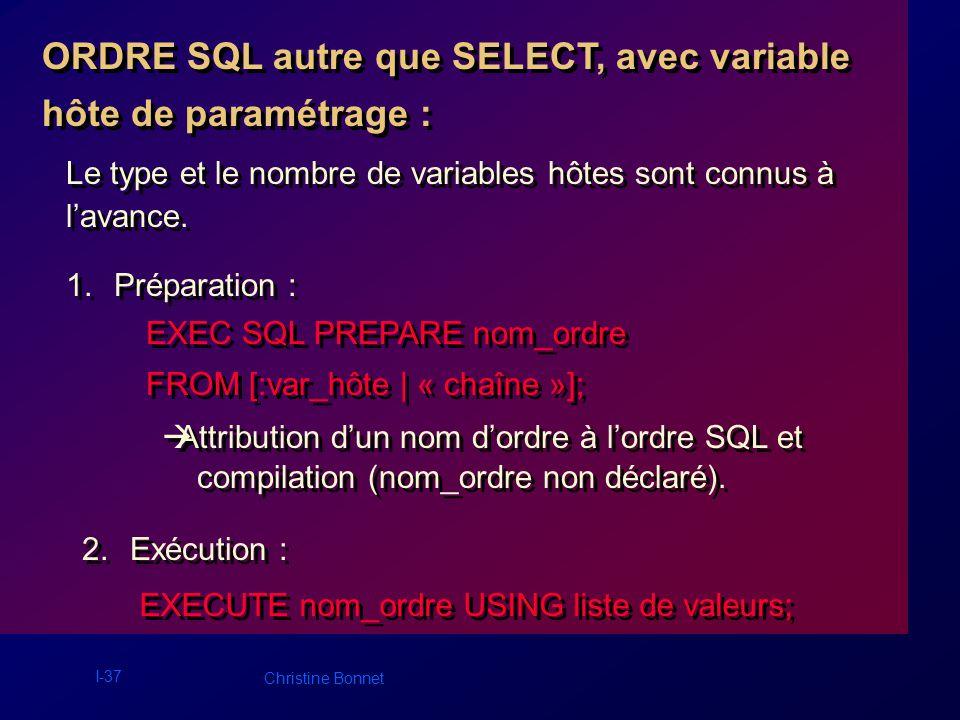 I-37 Christine Bonnet ORDRE SQL autre que SELECT, avec variable hôte de paramétrage : ORDRE SQL autre que SELECT, avec variable hôte de paramétrage :