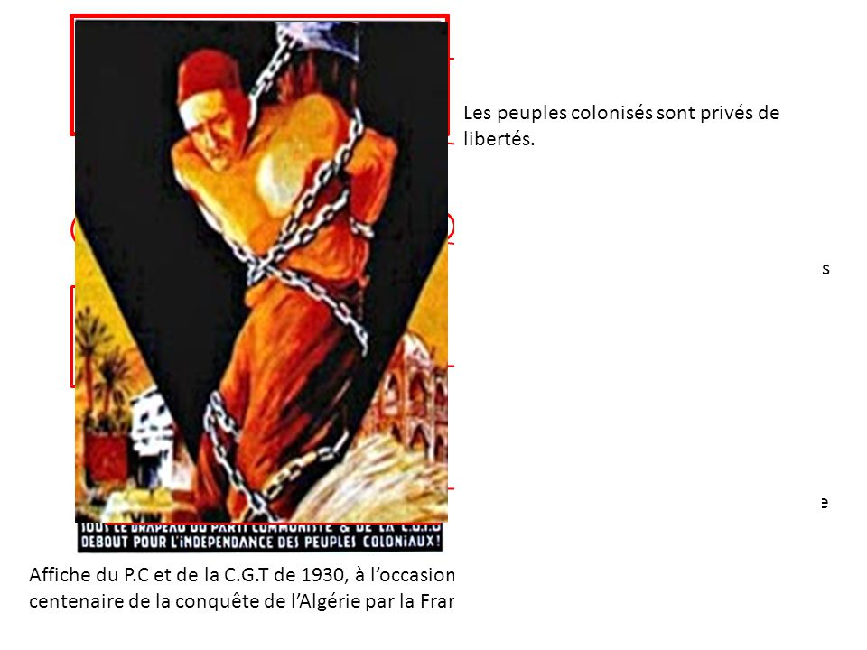 Affiche du P.C et de la C.G.T de 1930, à loccasion du centenaire de la conquête de lAlgérie par la France. La durée de la présence français en Algérie