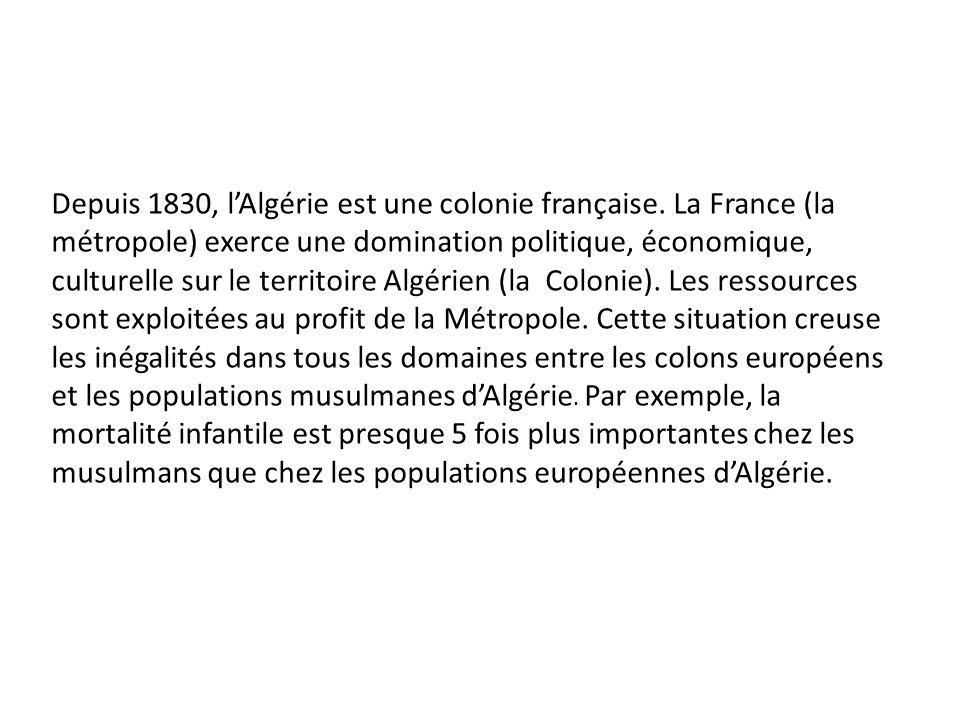 Depuis 1830, lAlgérie est une colonie française. La France (la métropole) exerce une domination politique, économique, culturelle sur le territoire Al