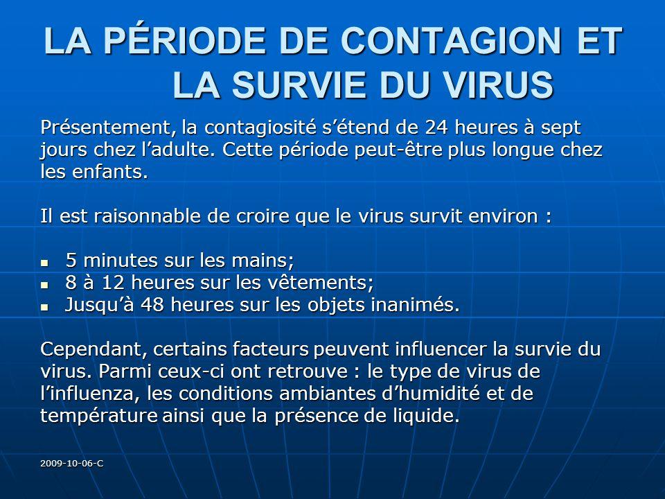 2009-10-06-C LA PÉRIODE DE CONTAGION ET LA SURVIE DU VIRUS Présentement, la contagiosité sétend de 24 heures à sept jours chez ladulte. Cette période