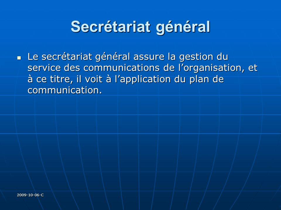 2009-10-06-C Secrétariat général Le secrétariat général assure la gestion du service des communications de lorganisation, et à ce titre, il voit à lap