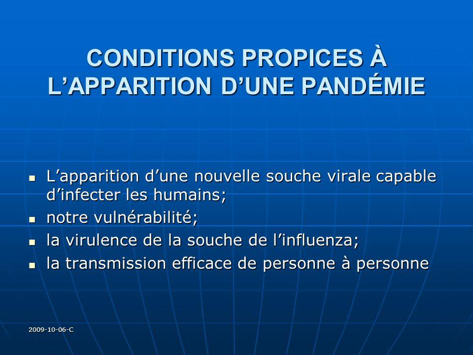 2009-10-06-C CONDITIONS PROPICES À LAPPARITION DUNE PANDÉMIE Lapparition dune nouvelle souche virale capable dinfecter les humains; Lapparition dune n