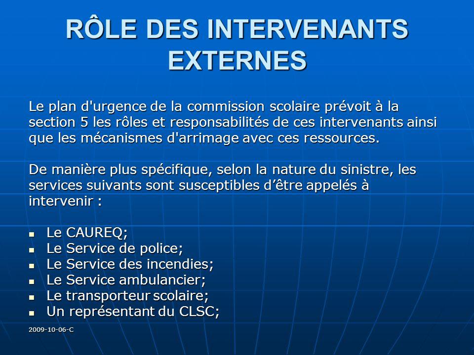 2009-10-06-C RÔLE DES INTERVENANTS EXTERNES Le plan d'urgence de la commission scolaire prévoit à la section 5 les rôles et responsabilités de ces int