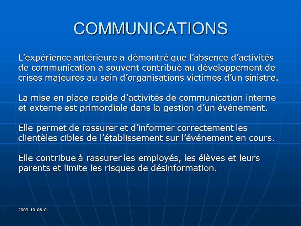 2009-10-06-C COMMUNICATIONS Lexpérience antérieure a démontré que labsence dactivités de communication a souvent contribué au développement de crises