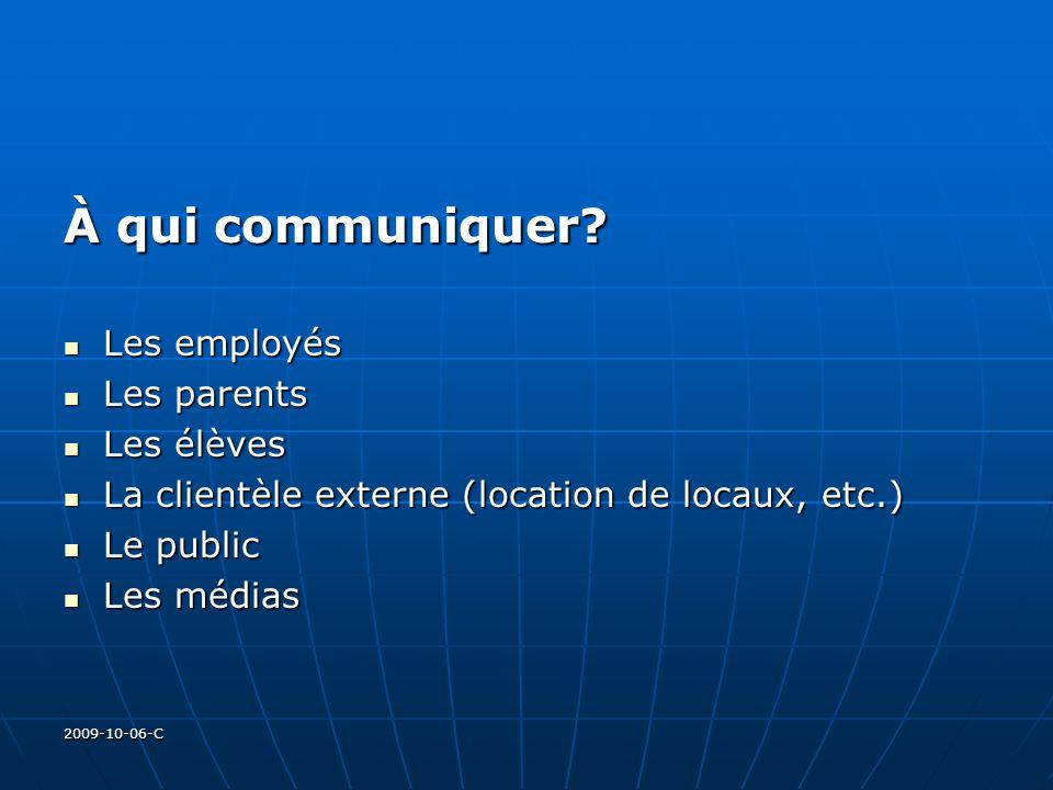 2009-10-06-C À qui communiquer? Les employés Les employés Les parents Les parents Les élèves Les élèves La clientèle externe (location de locaux, etc.