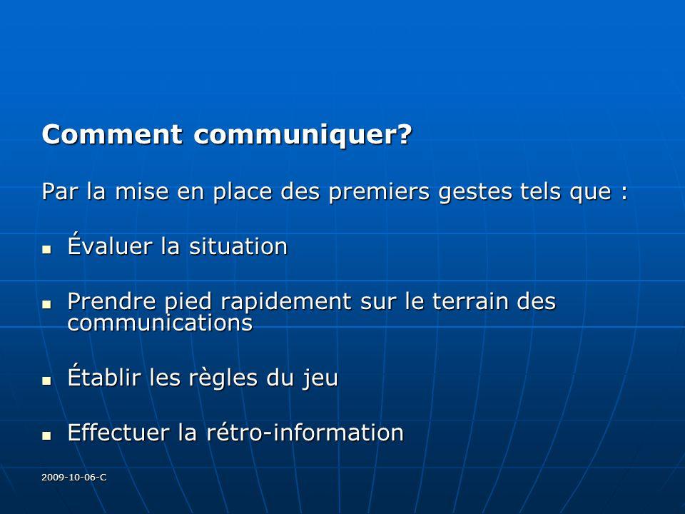 2009-10-06-C Comment communiquer? Par la mise en place des premiers gestes tels que : Évaluer la situation Évaluer la situation Prendre pied rapidemen
