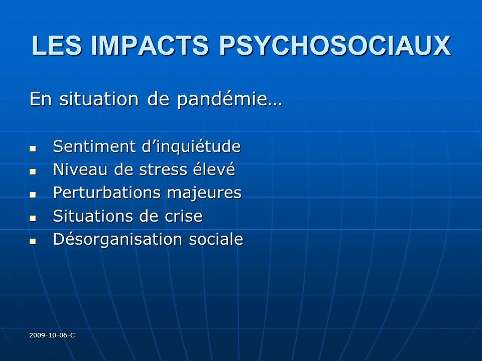 2009-10-06-C LES IMPACTS PSYCHOSOCIAUX En situation de pandémie… Sentiment dinquiétude Sentiment dinquiétude Niveau de stress élevé Niveau de stress é