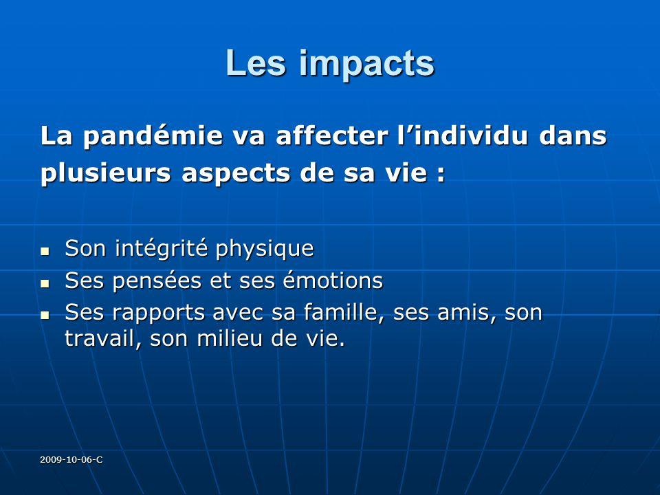 2009-10-06-C Les impacts La pandémie va affecter lindividu dans plusieurs aspects de sa vie : Son intégrité physique Son intégrité physique Ses pensée