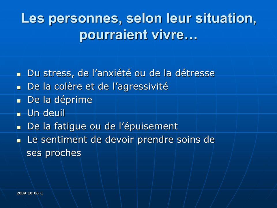 2009-10-06-C Les personnes, selon leur situation, pourraient vivre… Du stress, de lanxiété ou de la détresse Du stress, de lanxiété ou de la détresse