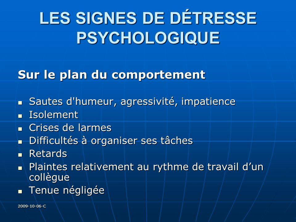 2009-10-06-C LES SIGNES DE DÉTRESSE PSYCHOLOGIQUE Sur le plan du comportement Sautes d'humeur, agressivité, impatience Sautes d'humeur, agressivité, i
