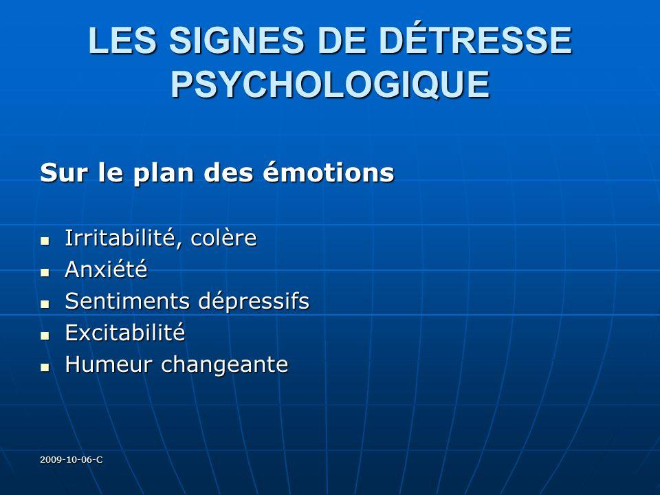 2009-10-06-C LES SIGNES DE DÉTRESSE PSYCHOLOGIQUE Sur le plan des émotions Irritabilité, colère Irritabilité, colère Anxiété Anxiété Sentiments dépres