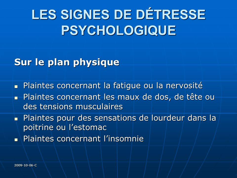 2009-10-06-C LES SIGNES DE DÉTRESSE PSYCHOLOGIQUE Sur le plan physique Plaintes concernant la fatigue ou la nervosité Plaintes concernant la fatigue o