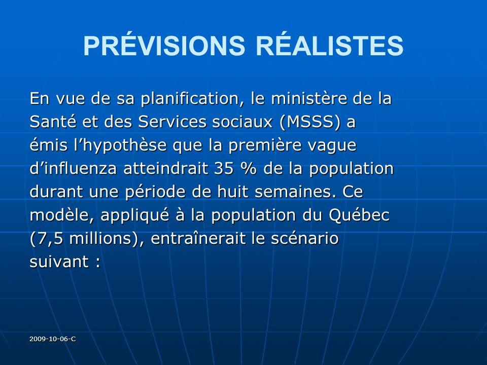 2009-10-06-C PRÉVISIONS RÉALISTES En vue de sa planification, le ministère de la Santé et des Services sociaux (MSSS) a émis lhypothèse que la premièr