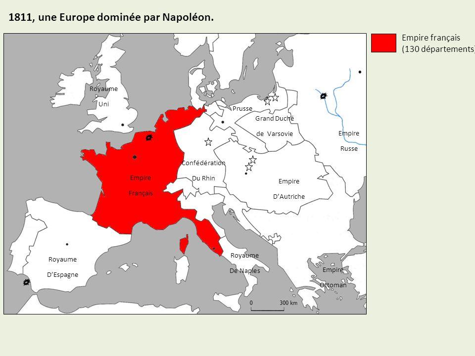 Empire DAutriche Empire Russe Royaume DEspagne Empire Français Royaume De Naples Royaume Uni Confédération Du Rhin Grand Duché de Varsovie Prusse Empire Ottoman Empire français (130 départements) Etats soumis à la France 1811, une Europe dominée par Napoléon.