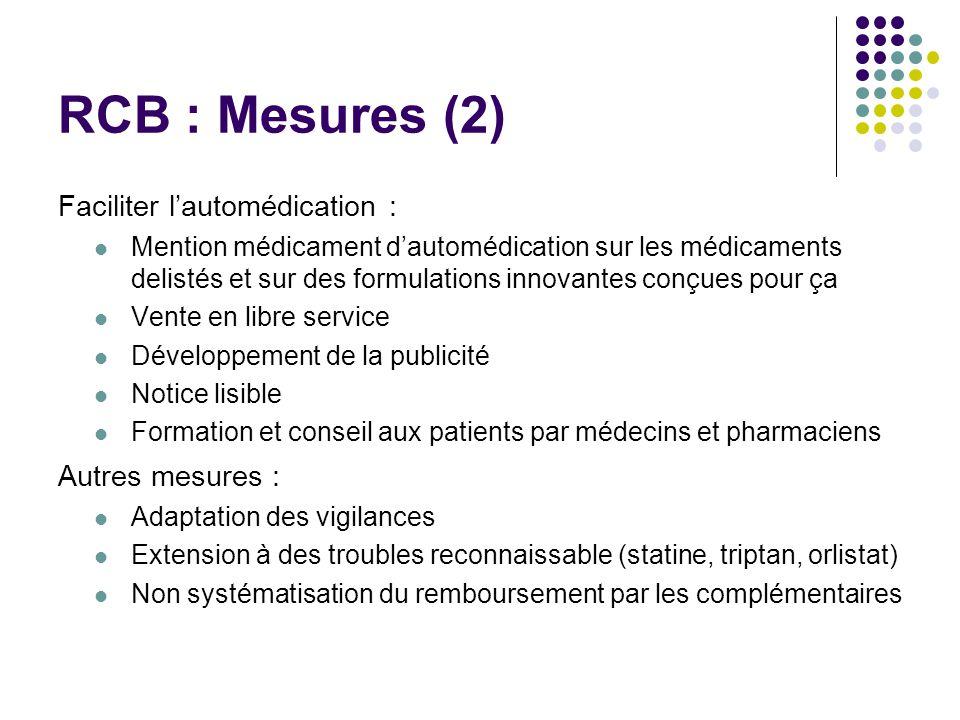 RCB : Mesures (2) Faciliter lautomédication : Mention médicament dautomédication sur les médicaments delistés et sur des formulations innovantes conçu